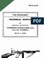36778320 Tm 9 1215 Technical Manual Ordnance Maintenance Thompson Sub Machine Gun Cal 45 M1928A1 1942