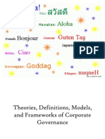 Theories, Definitions, Models, and Frameworks of Corporate Governance