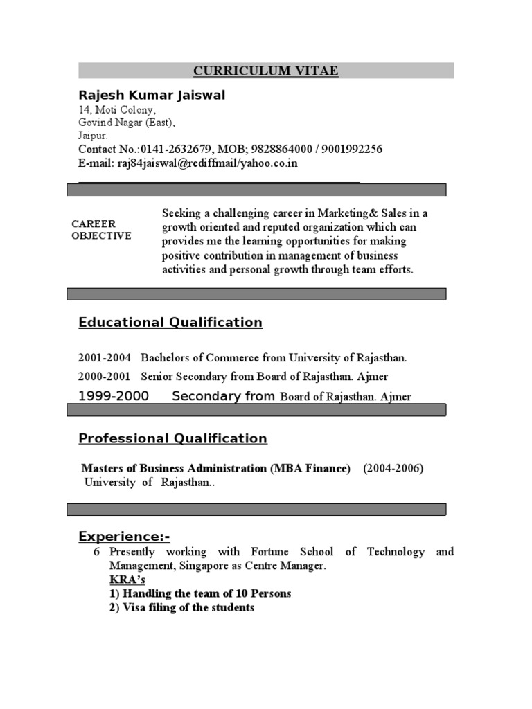 Resume Master Of Business Administration Business