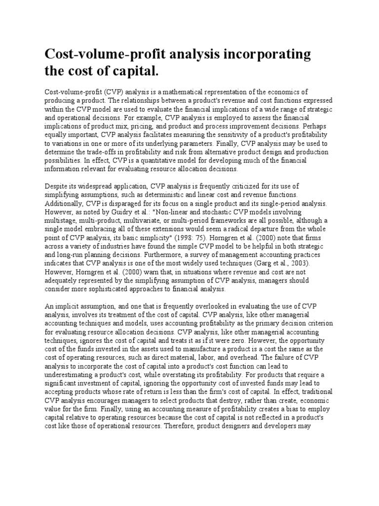 Cost Volume Profit Analysis | Profit (Accounting) | Business Economics
