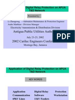Application of Digital Relay Protection on APUA        Relay