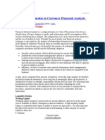 Ratios and Formulas in Customer Financial Analysis