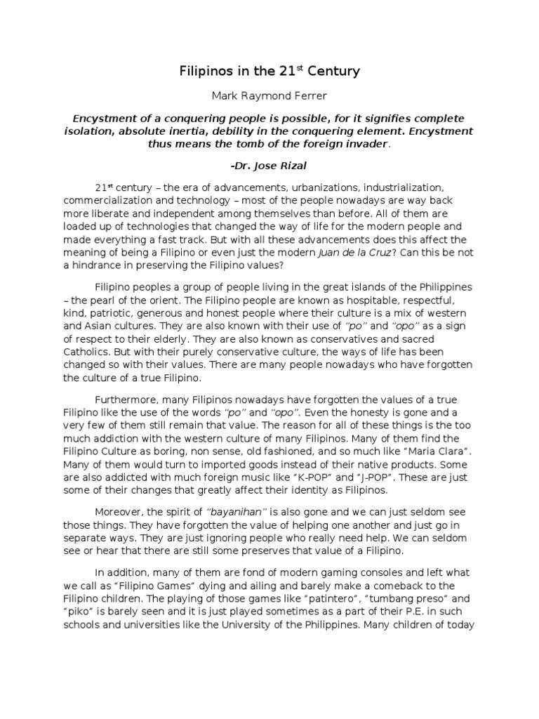 filipino people and rizal essay