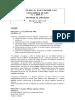 Criterios de corrección del Examen de Literatura Universal de la convocatoria de junio de 2011
