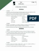 Examen de Selectividad de Literatura Universal, convocatoria de junio de 2011