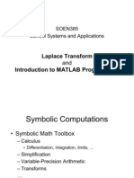 Laplace Transform and Introduction to MATLAB Programming