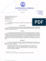 AG Cuccinelli Opinion on UVA No-Guns Policy