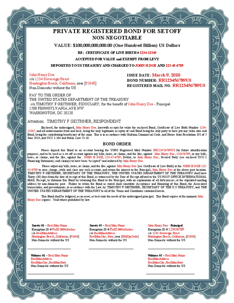 Birth Certificate Bond Uniform Commercial Code Bonds Finance