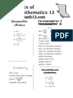 Principles of Math 12 - Formula Sheet