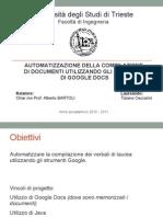 AUTOMATIZZAZIONE DELLA COMPILAZIONE  DI DOCUMENTI UTILIZZANDO GLI STRUMENTI  DI GOOGLE DOCS