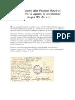O Scrisoare Din Primul Razboi Mondial a Ajuns La Destintar Dupa 95 de Ani