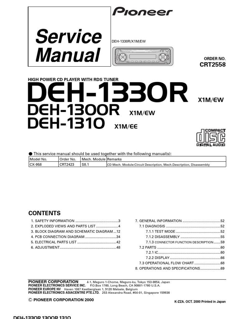 Pioneer Deh 1300 R Service Manual Wiring Diagram 1330rdeh 1300rdeh 1310 Electrical Connector Resistor