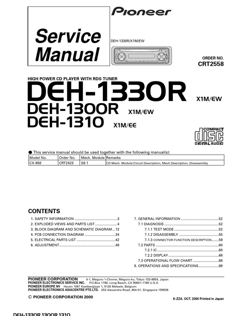 Pioneer DEH 1330R,DeH 1300R,DeH 1310 Service Manual | Electrical
