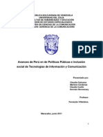 Avances de Perú en de Políticas Púbicas e inclusión social de Tecnologías de Información y Comunicación