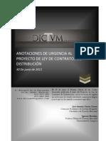 ANOTACIONES DE URGENCIA AL PROYECTO DE LEY DE CONTRATOS DE DISTRIBUCIÓN