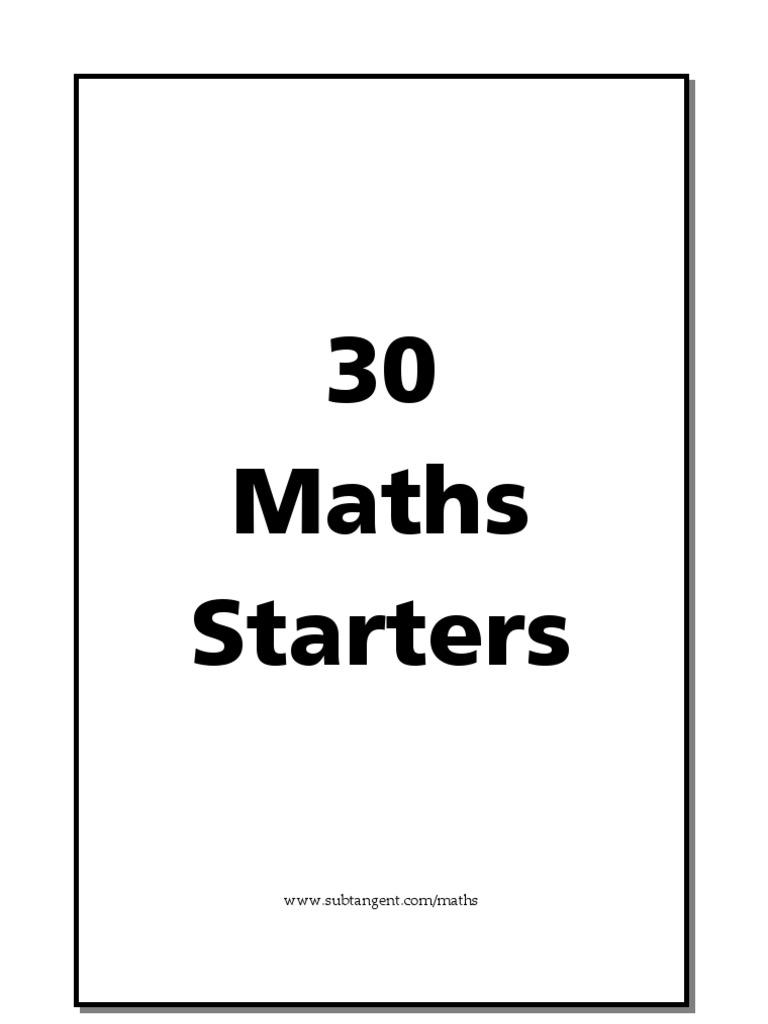 30 Maths Starters | Elementary Mathematics | Física e matemática