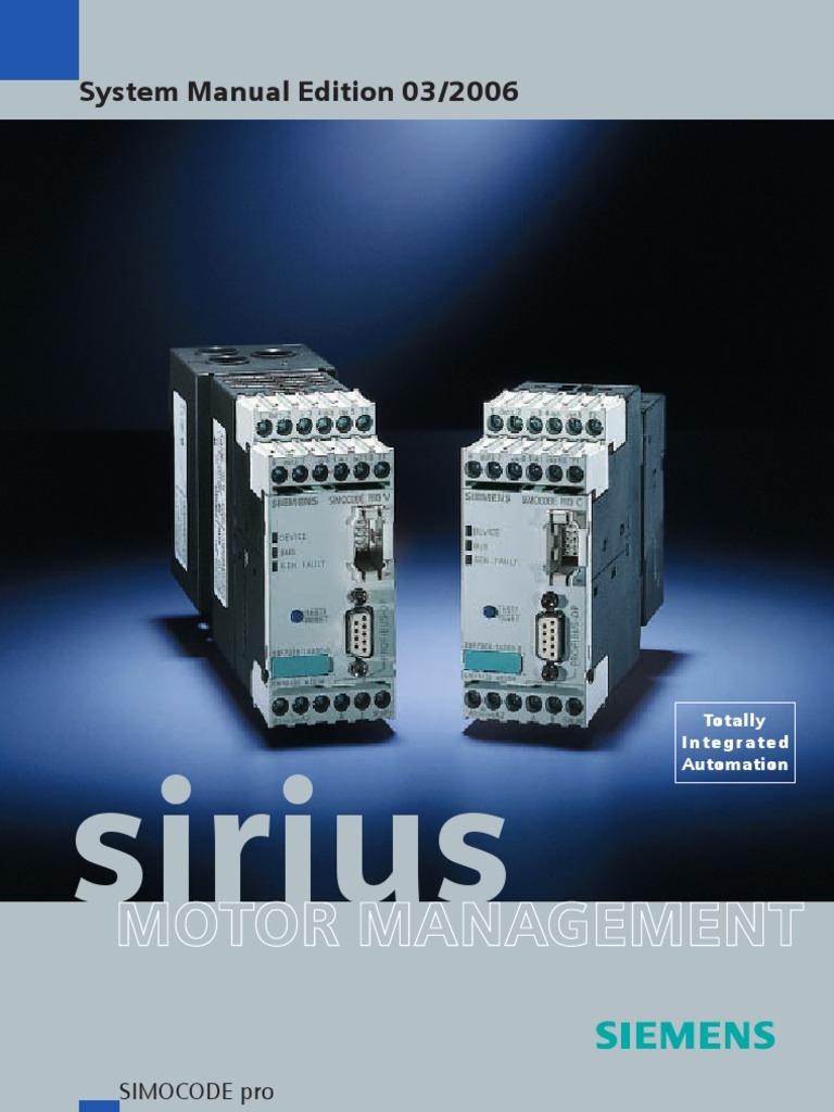 Simocode Pro System Manual 6316050-22DS01_060406 | Programmable Logic  Controller | Programmer