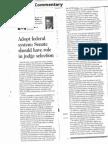 Judicial Selection Op-Ed (Printed)