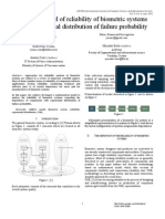 Additive Model of Reliability of Biometric Systems with Exponential Distribution of Failure Probability