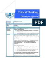 Critical Thinking - Writing Argument