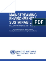 Mainstreaming environmental sustainability in country analysis and the UNDAF - A guidance Note for UNCT and IPT (UNDG - 2009)
