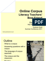 Dominik Lukes - Online Corpus for Literacy Teachers - Dyslexia Guild Summer Conference 2011