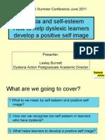 Lesley Burnett - Dyslexia and Self-Esteem - Dyslexia Guild Summer Conference 2011