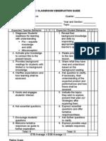 2010 Sec Classroom Observation Guide