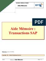 Aide Memoire Transactions SAP