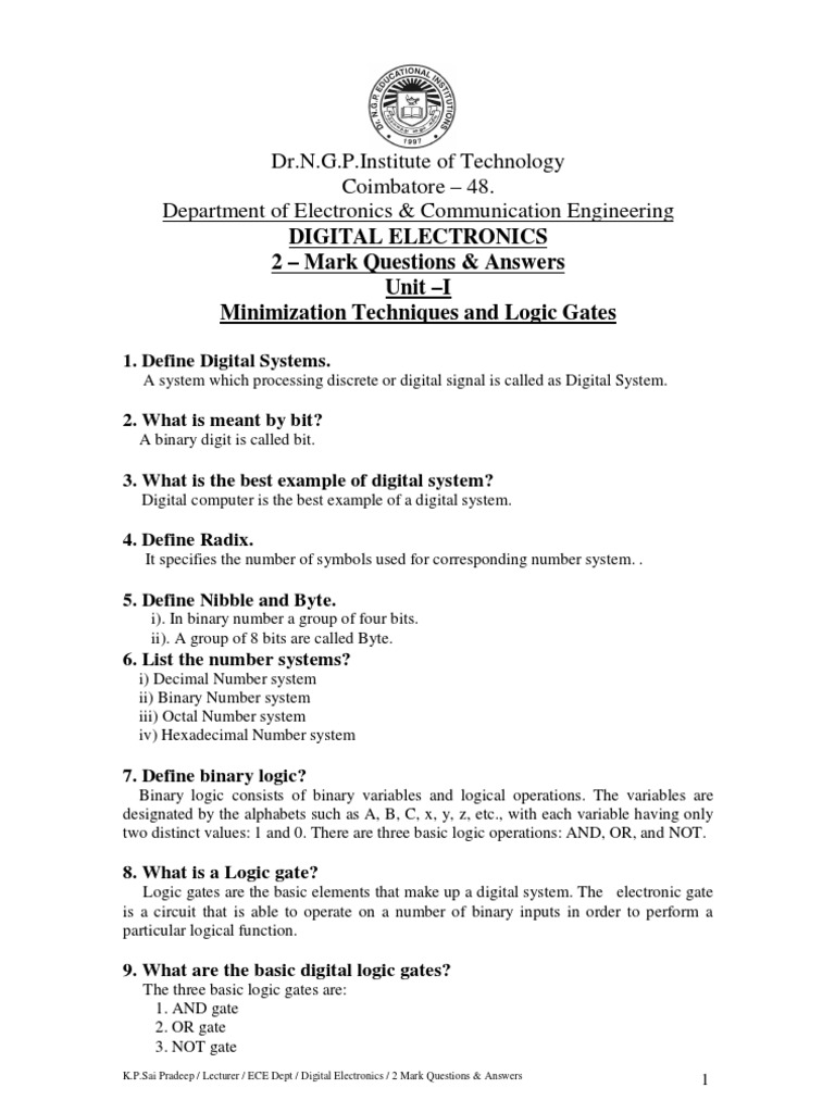 Digital Electronics Question bank , Digital Electronics 2