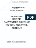 BS 729-1971 Hot %E2%80%94ip Galvanized Coatings on Iron and Steel Articles