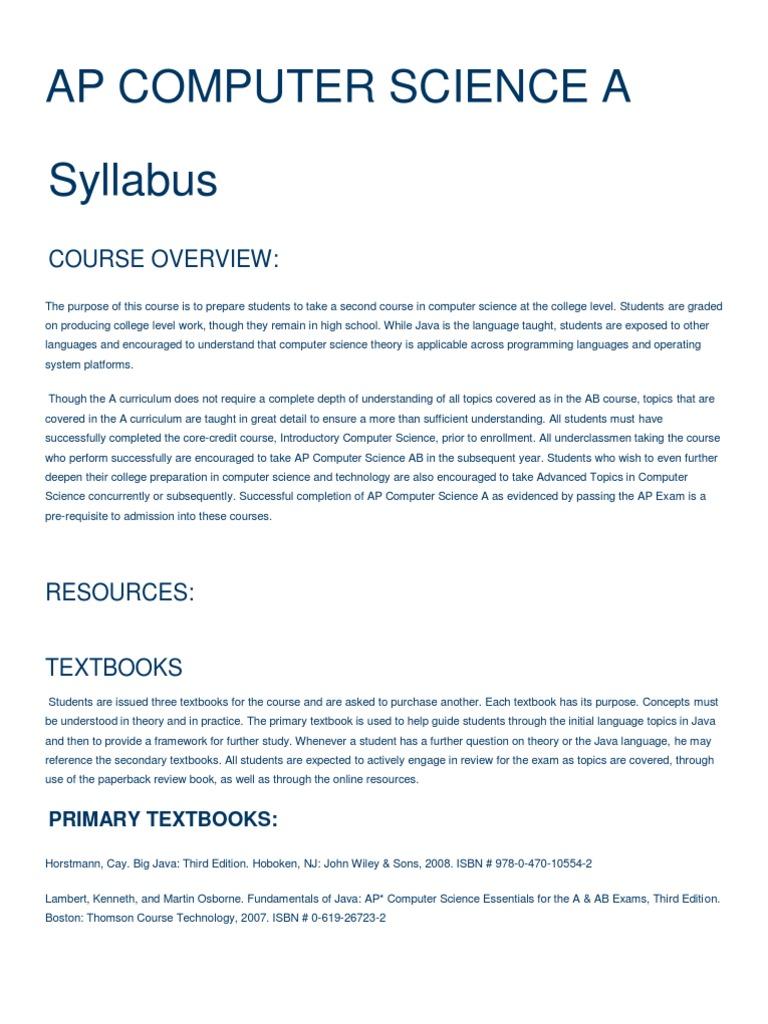 HolyGhost School Syllabus | Control Flow | Advanced Placement