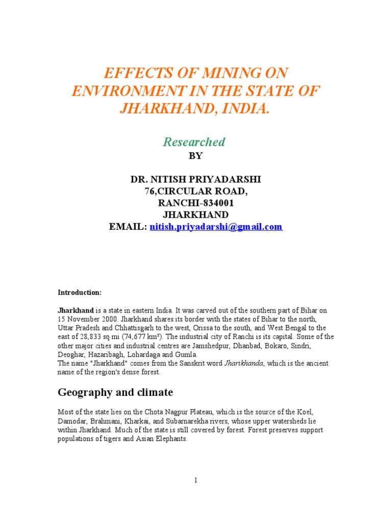 Jharkhand Research Report on mining    Sinkhole   Mining