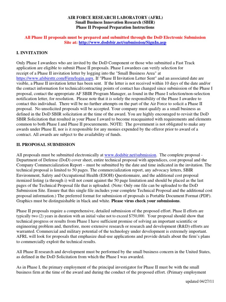 Afrl Sbir Phase Ii Proposal Instructions Government Procurement In