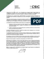 Resolucion Del Presidente Del CSIC