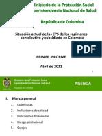 Situación actual de las EPS de los regímenes contributivo y subsidiado en Colombia