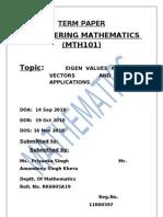 eigen value, eigen vector and its application