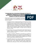COMUNICADO DE LA SOCIEDAD PERUANA DE DERECHO AMBIENTAL RESPECTO A LA OBSERVACIÓN DEL EJECUTIVO A LA MORATORIA DE DIEZ AÑOS PARA EL INGRESO AL PERÚ DE TRANSGÉNICOS
