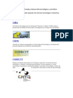Instituciones enfocadas al desarrollo tecnológico y cientidico