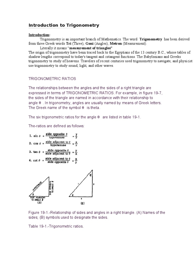 Introduction To Trigonometry Trigonometric Functions Special