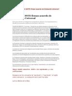 La SEP y el SNTE firman acuerdo de Evaluación Universal
