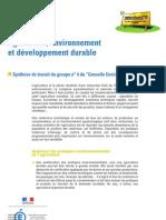 Agriculture environnement et développement durable - Synthèse Grenelle Environnement 2007