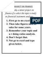 A FINANCE MINOR FOR MBA STUDENTS PROJECT ON FINANCIAL STATEMENT ANALYSIS