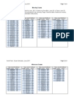 2011 Spring Exam Schedule