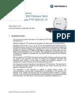 Motorola PTP 800 Series 03-10 System Release Note