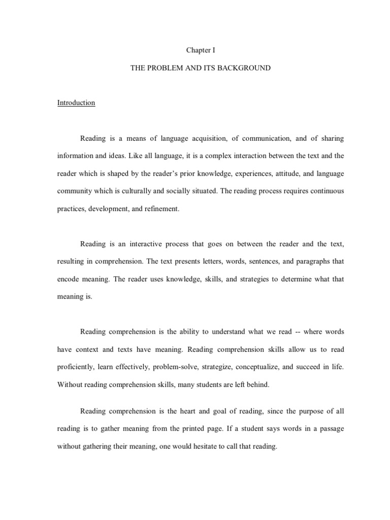Thesis on factors affecting reading comprehension determining market size business plan