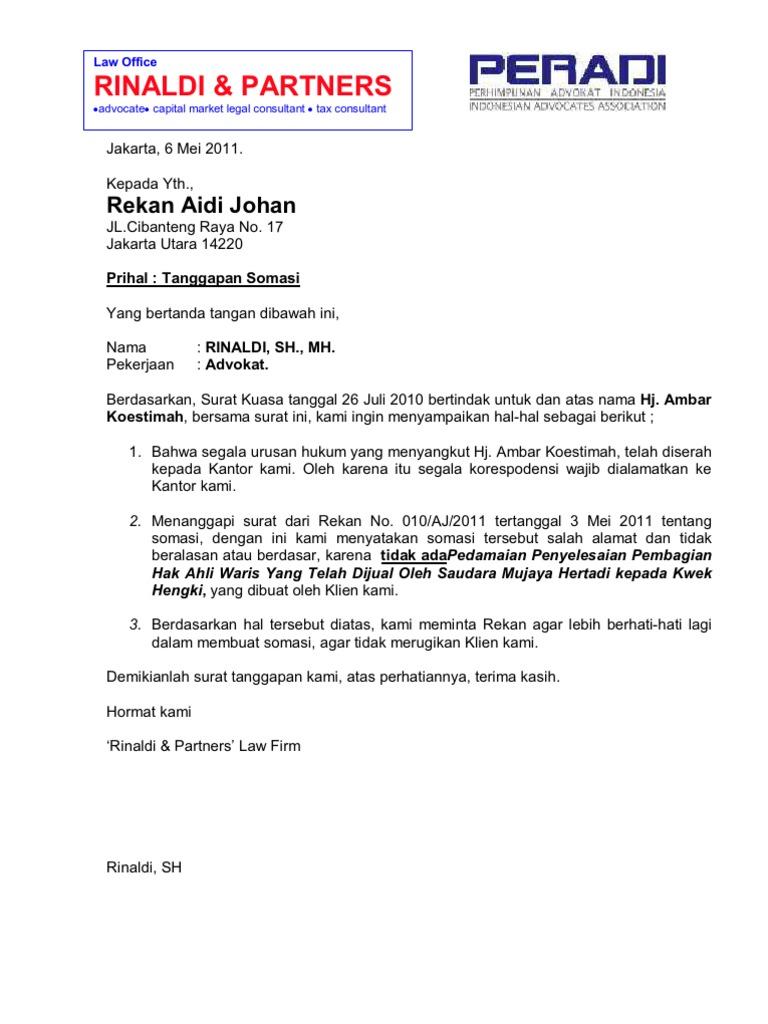 45++ Contoh surat balasan somasi hutang terbaru terbaru