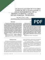 DETERMINACIÓN DE ECUACIONES DE VOLUMENPARA PLANTACIONES DE TECA (Tectona grandis L.)EN LA UNIDAD EXPERIMENTAL DE LARESERVA FORESTAL CAPARO,ESTADO BARINAS - VENEZUELA