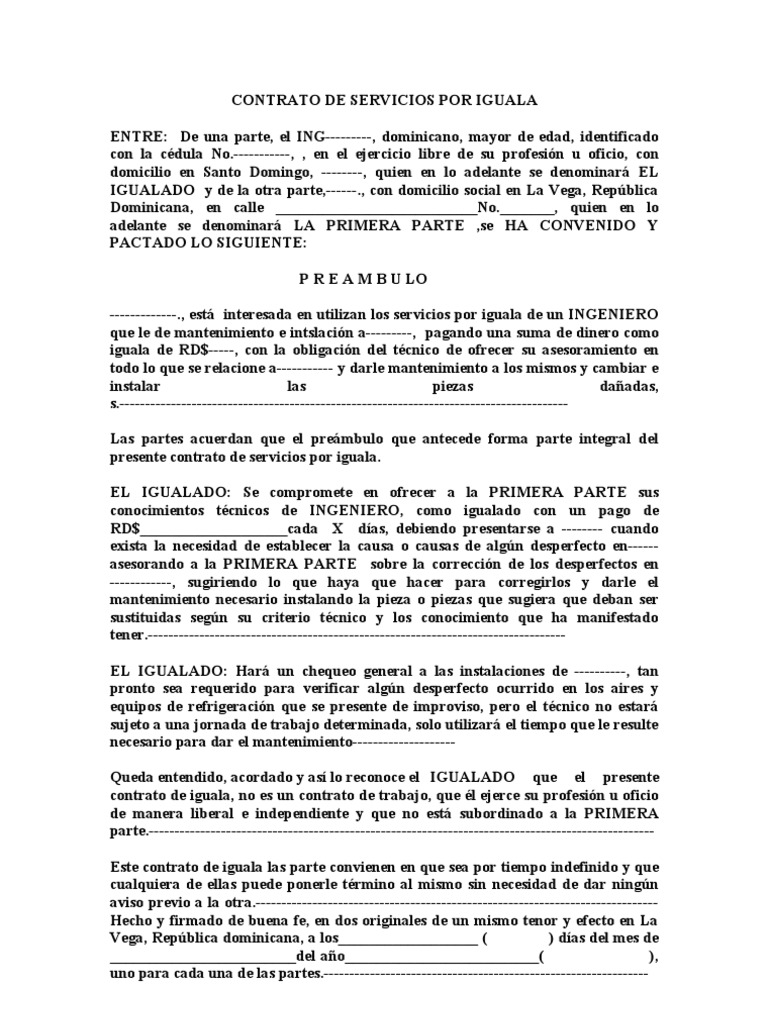 Contrato de servicios por iguala 1 for Plantilla de contrato indefinido
