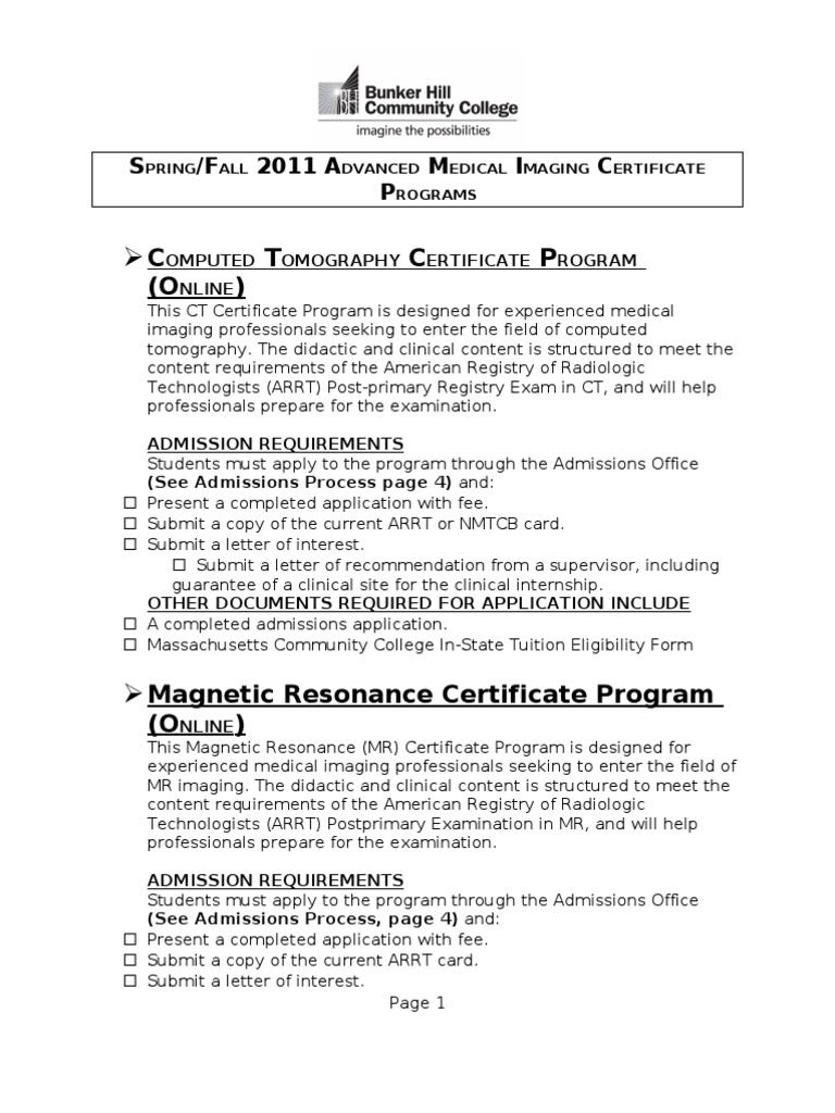 Advanced Medical Imaging Certificates 2011 (Yellow